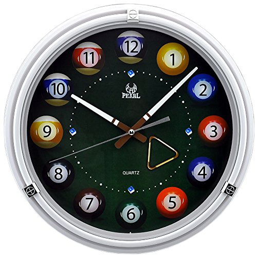 14 Inch Bar Billiards Multicolor Modern Non Ticking Silent Quartz Analog Digital Wall Clock (Pearl White Clock)