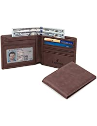 RFID Blocking Genuine Leather Wallet for Men-Excellent as Travel Bifold