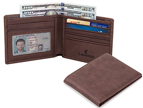 Lositto RFID Blocking Genuine Leather Wallet for Men-Excellent as Travel Bifold (Chocolate brown-Crazy horse leather) Top Grade Genuine Leather