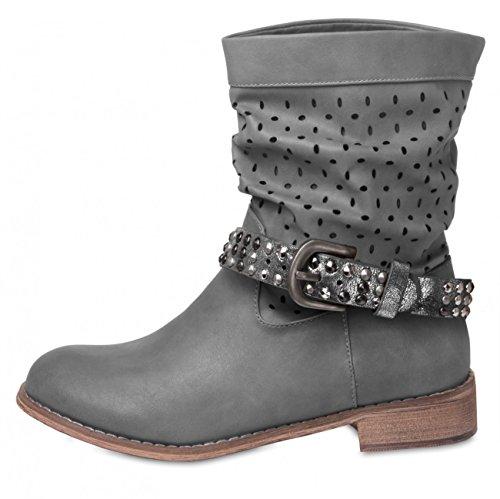 Silver colours Womens Metallic CASPAR with Studs Boot Strap STB006 Accessory Dark many Pddw0qC