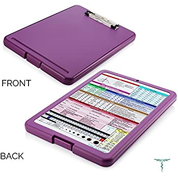 Nursing Clipboard with Storage by Tribe RN™ With Quick Access Medical References - Nurse / Student Edition (Purple)