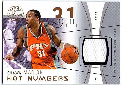 Flair Hot Numbers (SHAWN MARION 2003-04 03/04 Flair Hot Numbers 74/75 Game Used Jersey Swatch Card)