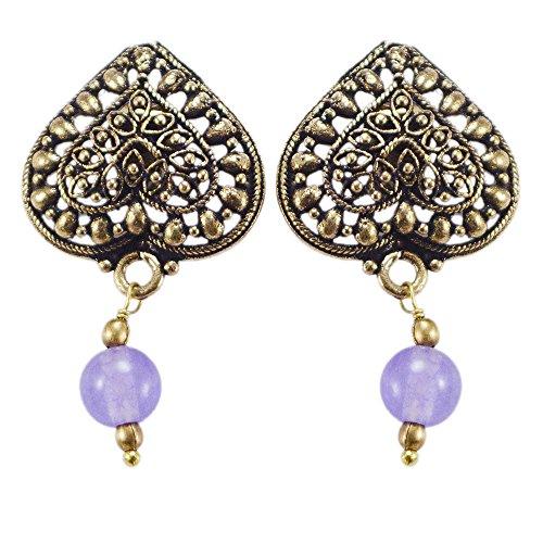 silvesto Inde perles quartz bleu clair boucles d'oreille à tige en laiton Sz 33mm PG 22707
