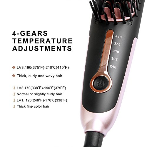 Straightening Brush 3.0, Buture Mini Hair Straightener Brush Ceramic Heating Ionic Hair Straightening Brush for Travel with Anti-scald MCH 110-240V Auto Shut Off Temperature Lock Black and Pink by BuTure (Image #6)