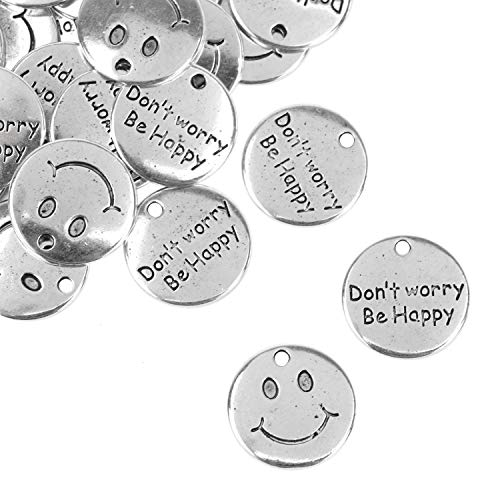 (JETEHO 50 Pack Alloy Round Double Sided Inspirational Message Don't Worry Be Happy Charms Pendant Happy Smile Face Charms for Jewelry Making)