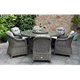 Harts - Premium Rattan Rod weave Dining set, 6 seat large round table, 1.5m with luxury cushions in Grey (Dining Set)