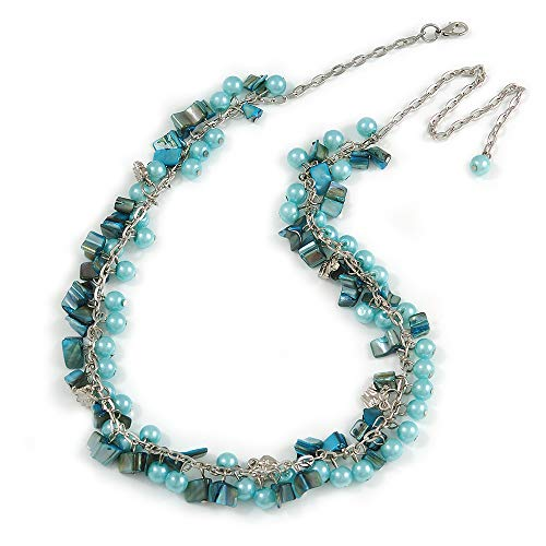 (Avalaya Statement Light Blue Glass, Teal Nugget Silver Tone Chain Necklace - 60cm L/ 8cm Ext)
