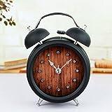 Black 3'' Two Bells Alarm Clocks Retro Wood Color Rivet Non-ticking Silent Quartz Vintage bedside Twin Bell Table Clock Desk Clocks Desktop Clock with Nightlight and Loud Alarm
