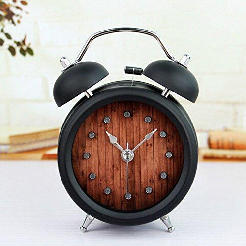 2 Bell Alarm Clock (Black 5'' Two Bells Alarm Clocks Retro Wood Color Rivet Non-ticking Silent Quartz Vintage bedside Twin Bell Table Clock Desk Clocks Desktop Clock with Nightlight and Loud)