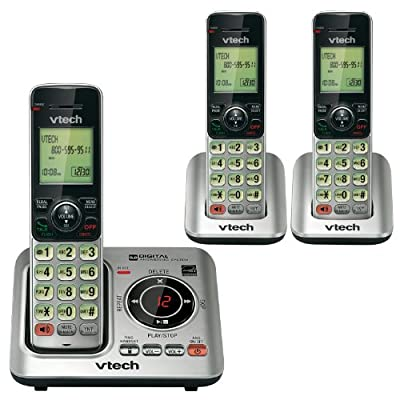 VTech CS6629 DECT 6.0 Expandable Cordless Phone with Answering System and Caller ID/Call Waiting, Silver
