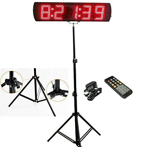Race Timer - GANXIN Portable 5'' High 5 Digits LED Race Clock with Tripod for Running Events, Countdown/up Digital RaceTimer, by Remote Control