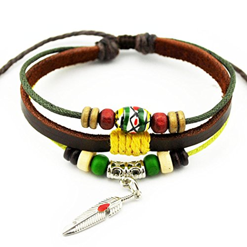 Grecian Costume Diy (Real Spark(TM) Feather Metal Pendant Wooden Beads Bohamian Leather Christmas Gift Adjustable Bracelet)