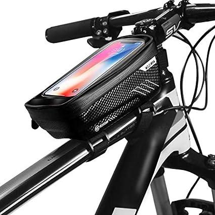 WILD MAN Waterproof MTB Bike Frame Front Bag Pannier Bicycle Mobile Phone Holder
