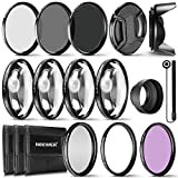 Neewer 49MM Lens Filter and Accessory Kit, Includes: UV CPL FLD Filters, Macro Close Up Filter Set(+1 +2 +4 +10), ND2 ND4 ND8 Filters, Pouch Cap Hood, Fit for Sony Alpha A3000, NEX Series DSLR Cameras