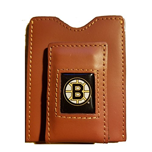 Boston Bruins Brown Leather Money Clip with Cardholder Boston Bruins Money Clip
