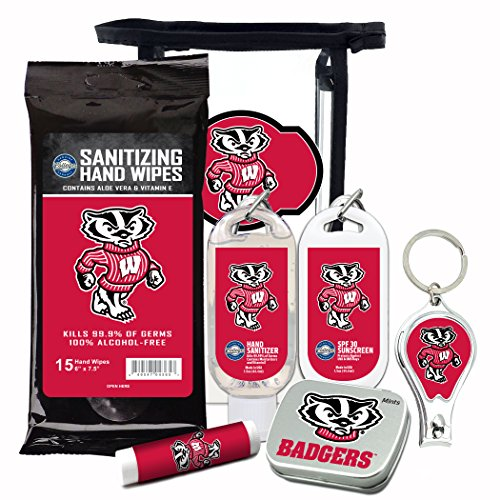 Wisconsin Badgers 6-Piece Fan Kit. Mint tin, nail clippers, hand sanitizer, lip balm, sunscreen, sanitizer wipes. Wisconsin Badgers gear, football gifts, stocking stuffers by Worthy