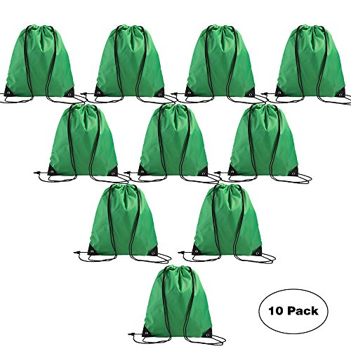 Promotional Bulk Drawstring Backpack Basic Gym Sack Pack Reusable Sports Cinch Tote Bag For Outside Giveaways and Storage Use 10PCS Hunter Green (Drawstring Sport Pack)