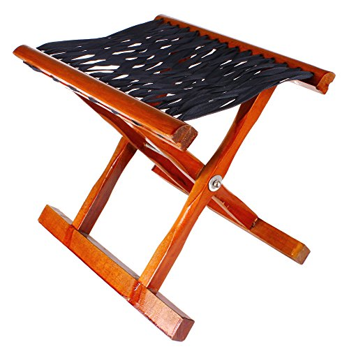 Folding Camp Stool in Solid Wood Hardwood Seat, Bench Multifunctional Fishing Chair Portable Folding Kitchen Stool Picnic Bathroom Garden Indoor Outdoor Use ()