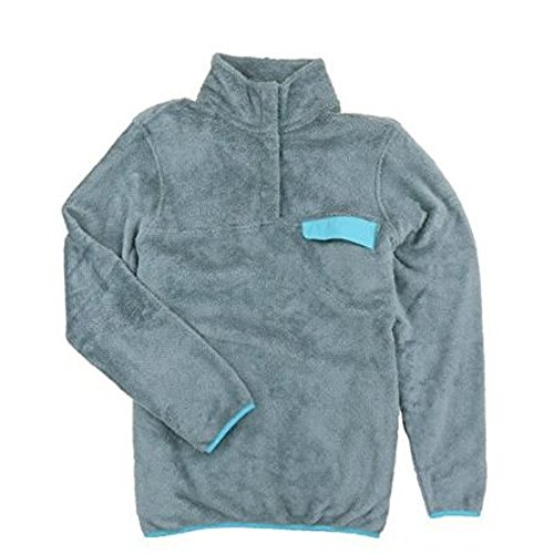 - Jachs NY Womens Cabin Sherpa Fleece Mock Neck Pullover Sweater with Chest Pocket (Medium, Grey/Aqua)