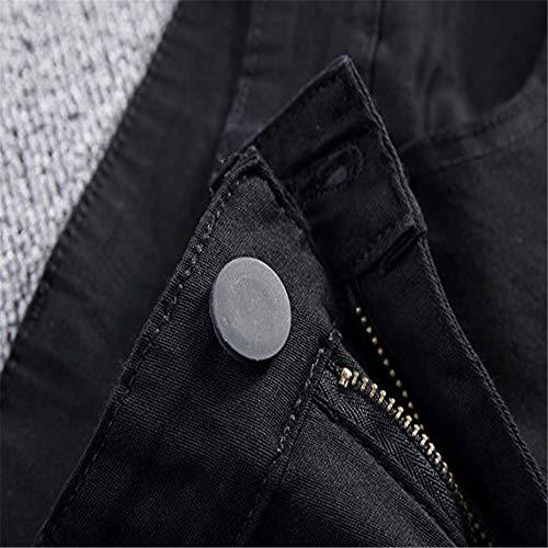 colore Elastica Denim Jeans Uomo Nero Distrutti Strappati Pantaloni Fit Bianca In Dimensione Zhangcaiyun 28 Slim Skinny Da Forza HT7IqnO
