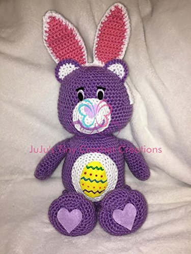 - Crocheted Handmade Care Bear Inspired Easter Stuffed Animal - Holiday Decoration - Easter Egg - Bunny - Teddy Bear - Easter Bunny - Easter Bear - Spring Decoration