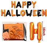1 Pack Orange and Black 16 Inches Giant Big Large Aluminum Foil Happy Halloween Balloons Banner Inflatable Party Poster Novelty Toys Favor Games Kit Home Decor Set