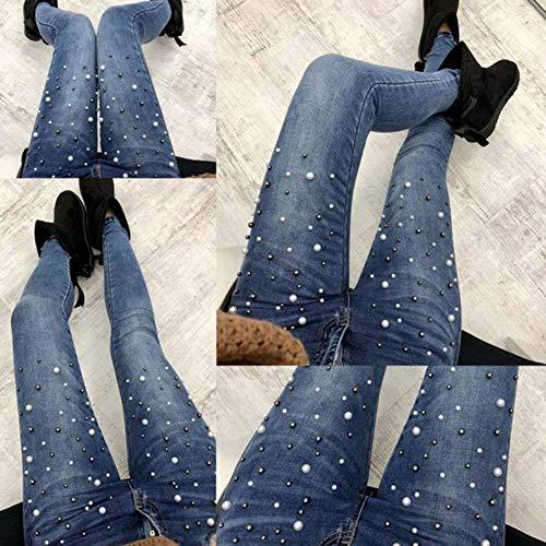 Con Lápiz Balck Perla Cuentas Alta Cintura De Mezclilla Mujeres Pantalones Casuales Flaco Bolsillos Las Vaqueros Estiramiento Estirar qwXUcapZ