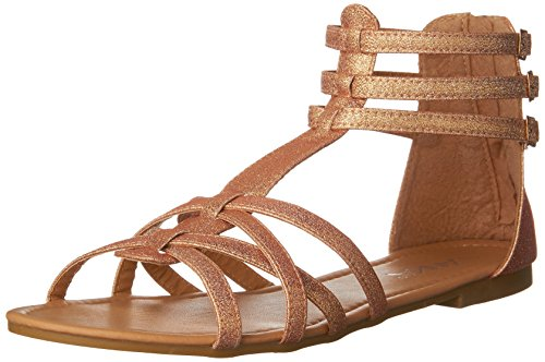 Anna Mavis-7 Women Buckle Zip Ankle Cuff Flat Gladiator Sandal Run Half Size Big,Rose Gold,6