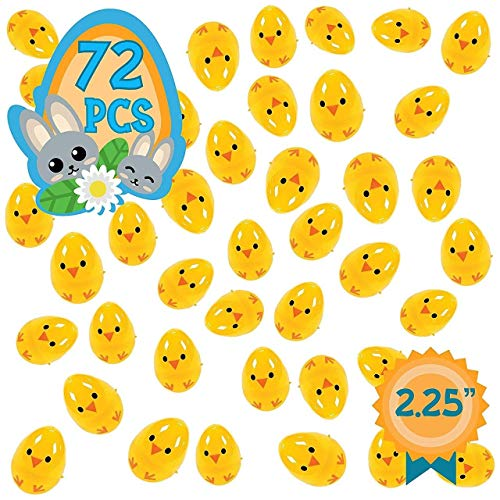 None Totem World 72 Chicks Plastic Easter Egg Hunt Party Favor Pack - 2.25-inch Fillable Plastic Egg Toy Supplies