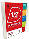 3 Ring Binders, 0.5 inch Slant-D Rings, White, Clear View, Pockets - 4 Pack by Officewerks