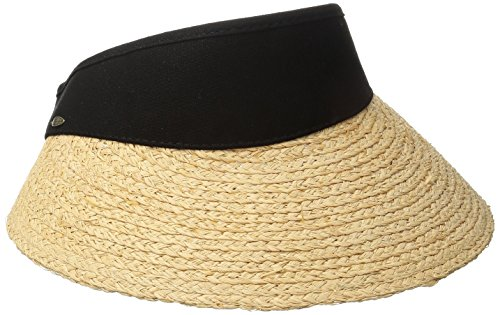 SCALA Women's Raffia Visor with Dyed Cotton Crown, Black, One Size