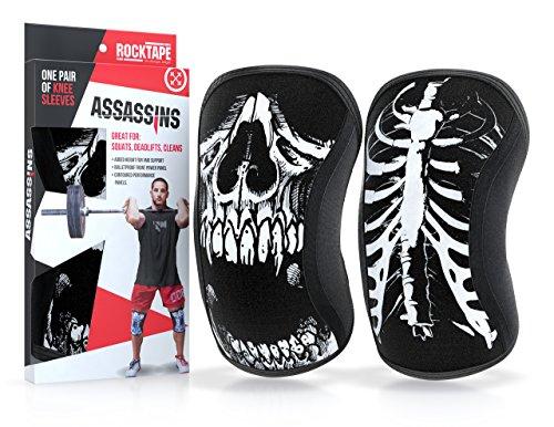 RockTape Assassins 5mm Knee Sleeves (2 Sleeves), Medium (Fits 13.5-14.5 Inches), Skull