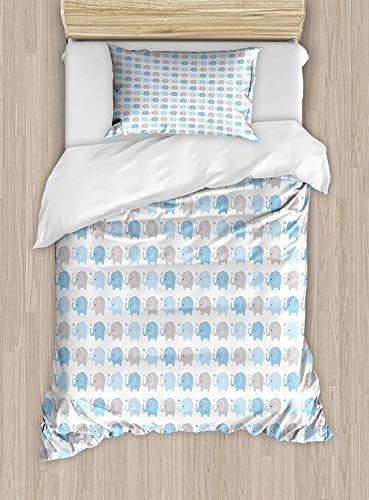 Grey Blue Twin Size Duvet Cover Set, Cartoon Elephants Nursery Animals with Heart Motifs Cute Wildlife, Decorative 2 Piece Bedding Set with 1 Pillow Sham, Blue Pale Blue and Grey
