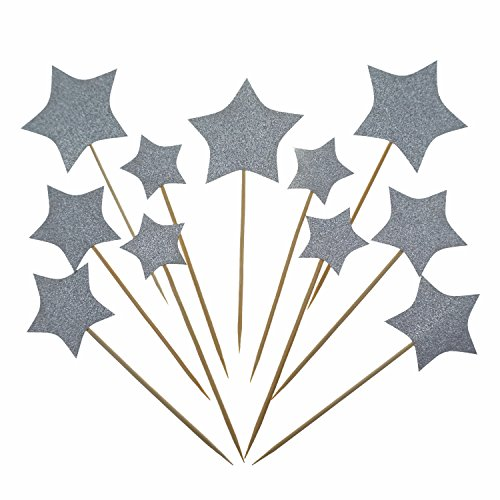 Shxstore Silver Stars Cake Cupcake Topper Picks For Wedding, Birthday, Baby Shower (Cupcake Cakes Baby Shower)