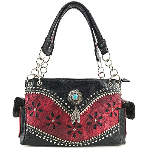 Handbag Handbag Western Tooled Red Stone Set Concho Concealed Justin Carry West Turquoise Studs Feathers Wallet Purse CqvSOXw