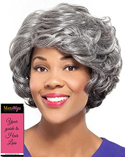 Shelly Wig Color 1B - Foxy Silver Wigs Short Classic Wavy Cut Synthetic African American Women's Machine Wefted Lightweight Average Cap Bundle with MaxWigs Hairloss ()