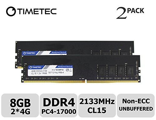 - Timetec Hynix IC 8GB Kit (2x4GB) DDR4 2133MHz PC4-17000 Non ECC Unbuffered 1.2V CL15 1R8 Single Rank 288 Pin UDIMM Desktop PC Computer Memory Ram Module Upgrade (8GB KIT (2x4GB))