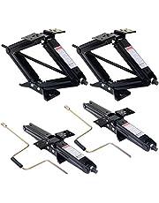 "Goplus 4Pcs 24"" Scissor Jack RV Camper Trailer Leveling and Stabilizer w/ 2 Crank Handles 5000lb Heavy Duty Steel"