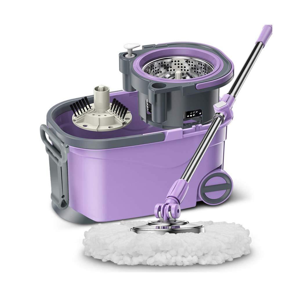フロアモップワイパー 回転モップ、360°回転モップヘッド、ハンドフリー洗濯、洗濯と乾燥、(マイクロファイバー) B07L26LSRT