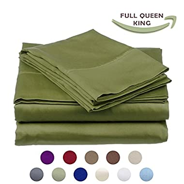 High Strength Natural Bamboo Fiber Yarns Egyptian Comfort 1800 Thread Count 4 Piece QUEEN Size Sheet Set, GREEN Color