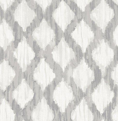 (NuWallpaper NU2922 Grey Floating Trellis Peel & Stick Wallpaper, Gray)