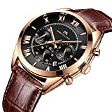 Mens Chronograph Watches Men Waterproof Sport Date Luxury Analogue Quartz Brown Leather Strap Wrist Watch