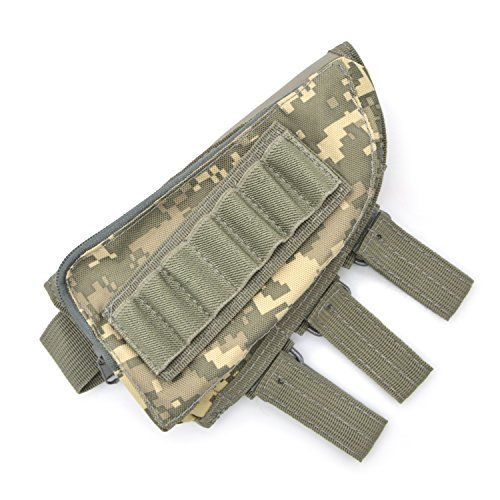 Freehawk® Tactical Sharpshooter / Rifle Stock / Rifle Pack / Cheek Pad / Buttstock Ammo Holder Pouch, Tactical Buttstock Shotgun Rifle Shell Holder Cheek Rest Pouch (ACU color) (Wood Sniper Rifle)