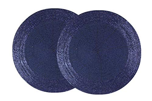 Cotton Craft - 2 Pack Beaded Placemat Set - Round Hand Beaded Charger Placemat - Navy- 14 Inches Round - Hand Made by Skilled artisans - A Beautiful complement to Your Dinner Table décor]()