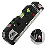 BoysBiz - EZY The Best Laser Level For Home Use - Straight Line Picture Hanging - Multipurpose Tape Measure With Button - 3 Spirit Levels and Handy Side Ruler - Recommended Pro Lazer Measurement Tool