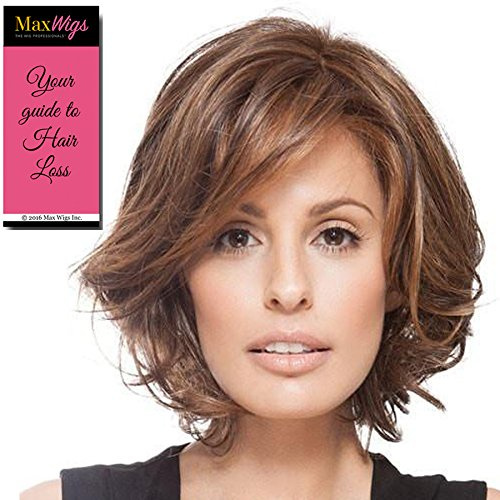 Price comparison product image Crowd Pleaser Wig Color RL6/28 BRONZE SABLE - Raquel Welch Wigs Heat Friendly Mid Length Waves Swept Bangs Women's Synthetic Lace Front Monofilament Part Bundle with MaxWigs Hairloss Booklet