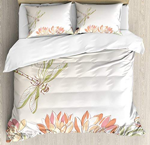 Dream-Decor Twin Size Dragonfly 4 Piece Bedding Set Duvet Cover Set, Lotus Flower Field with Dragonfly Flying Oriental Blooms Artful Print, Comforter Cover Bedspread Pillow Cases with Zipper Closure