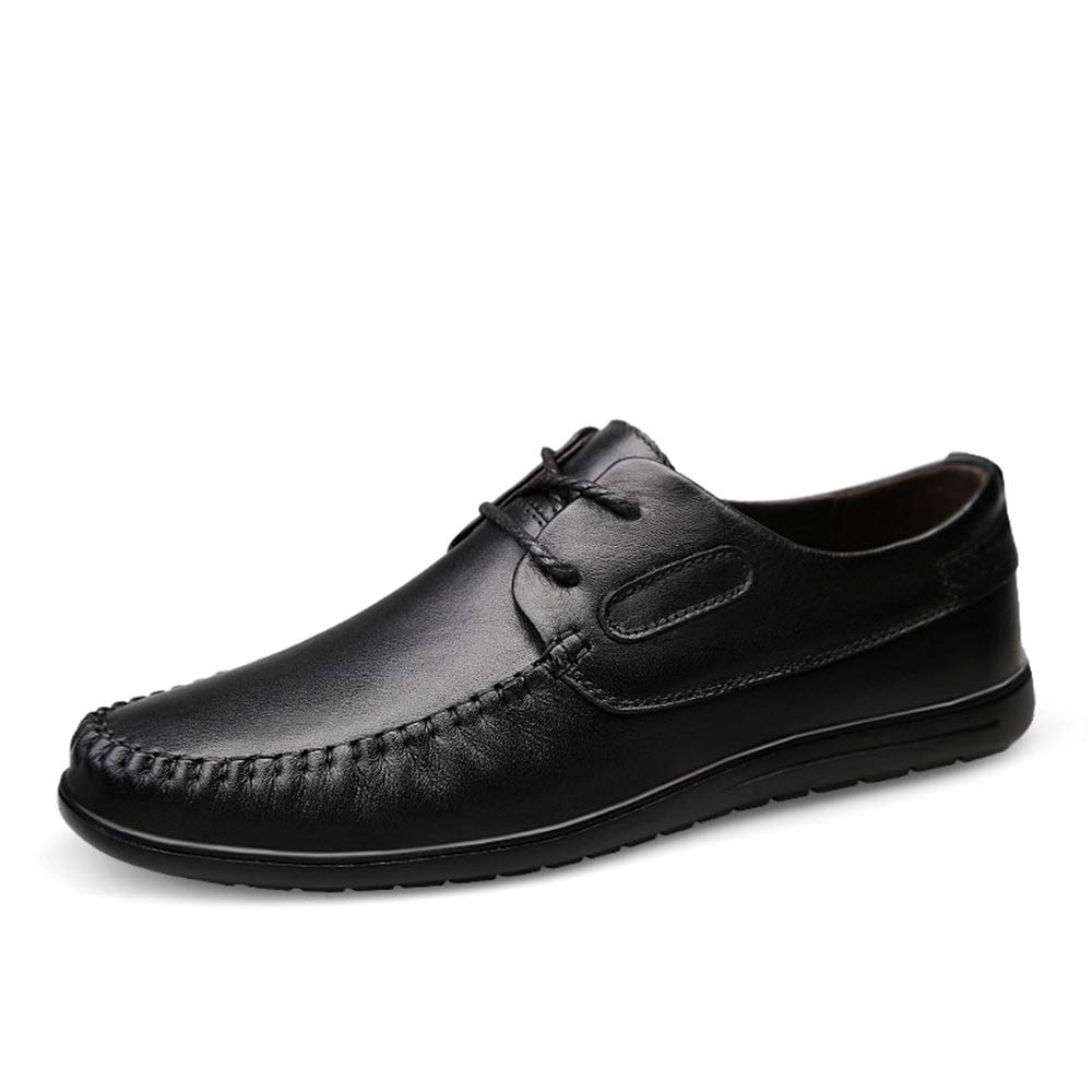 Gobling Classic Oxford for Men Walking Driving Shoes Lace Up Style Leather Handmade Stitching Round Toe Loafers (Color : Black, Size : 8.5 M US) by Gobling Men's Shoes