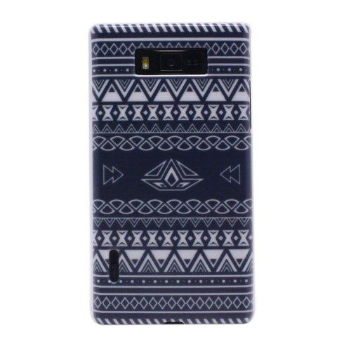 Wavy Stripe Triangle Rhombus Geometric Pattern Mural Hard Case Cover for LG Optimus L7