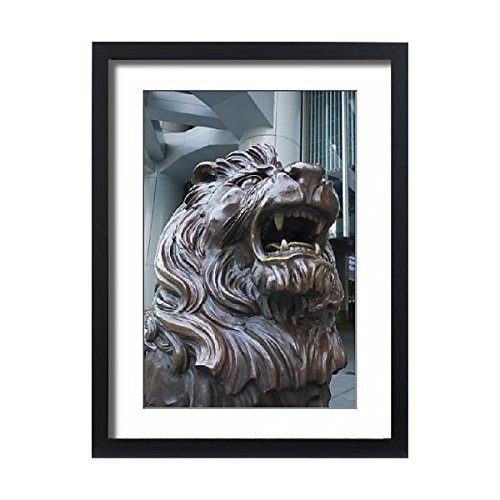 Framed 24X18 Print Of Bronze Lion Statue Outside The Hsbc Bank Headquarters  Rubbing  1137368